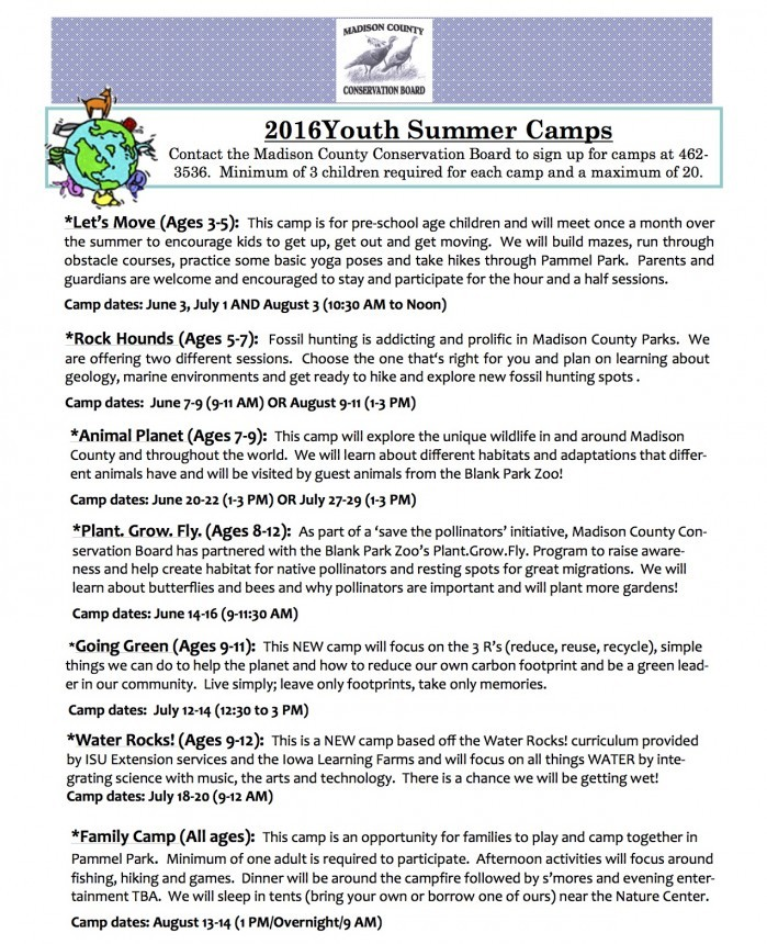 Summer Camps MCCB 2016 Winterset