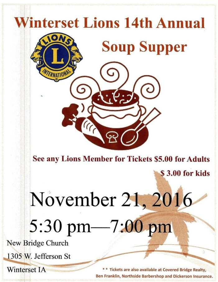 soup supper flyer for chamber newsletter